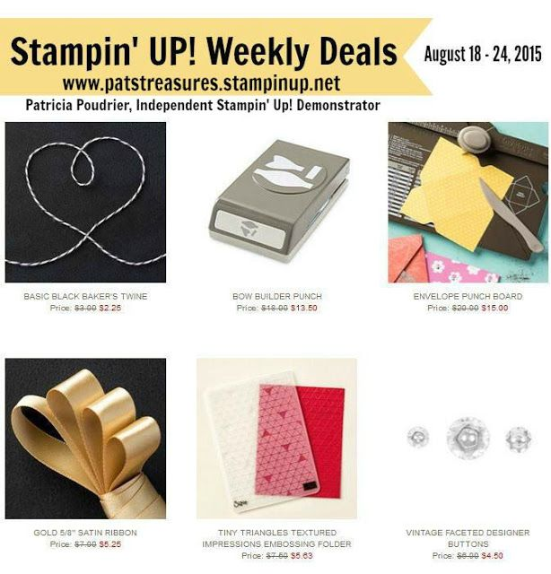 Pat's Creative Treasures: Stampin' Up's Weekly Deals!