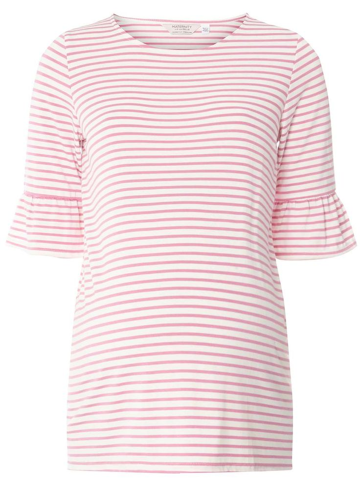 Womens **Maternity Pink Striped Flute Sleeve T-Shirt- Pink