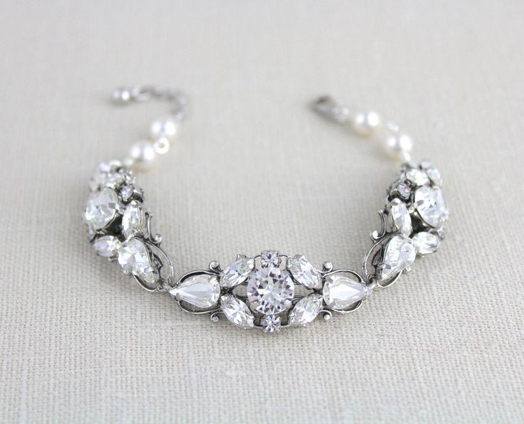 Wedding bracelet, Crystal Bridal bracelet, Pearl bracelet, Bridal jewelry, Vintage style bracelet, Swarovski bracelet, Cuff bracelet by treasures570 on Etsy
