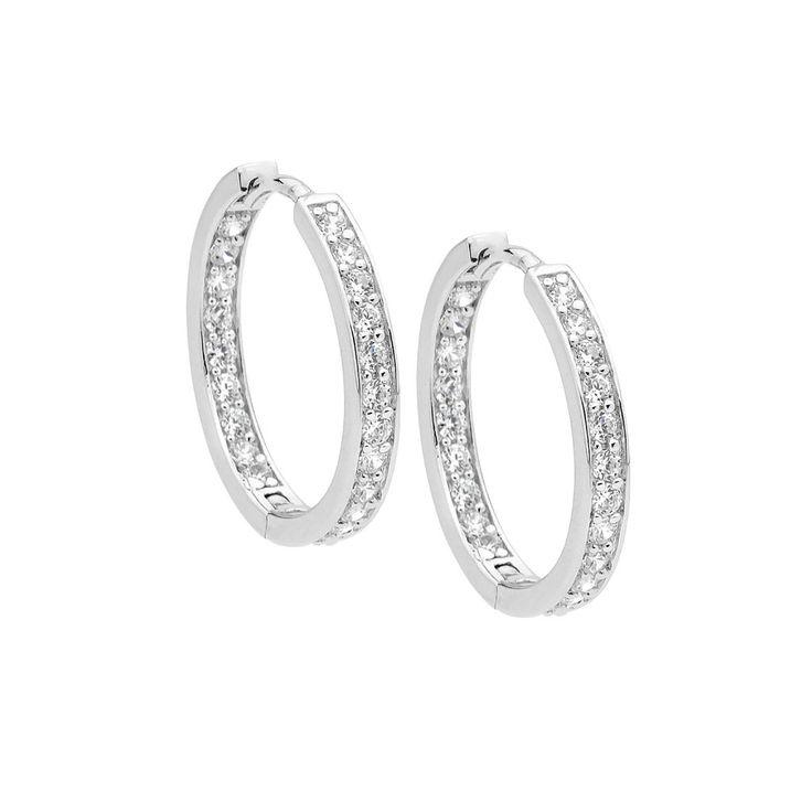 Sterling silver CZ hoop earrings by Ellani