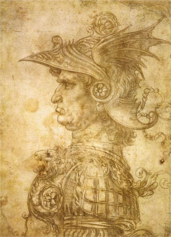 Profile of a warrior in helmet, 1472 Leonardo da Vinci