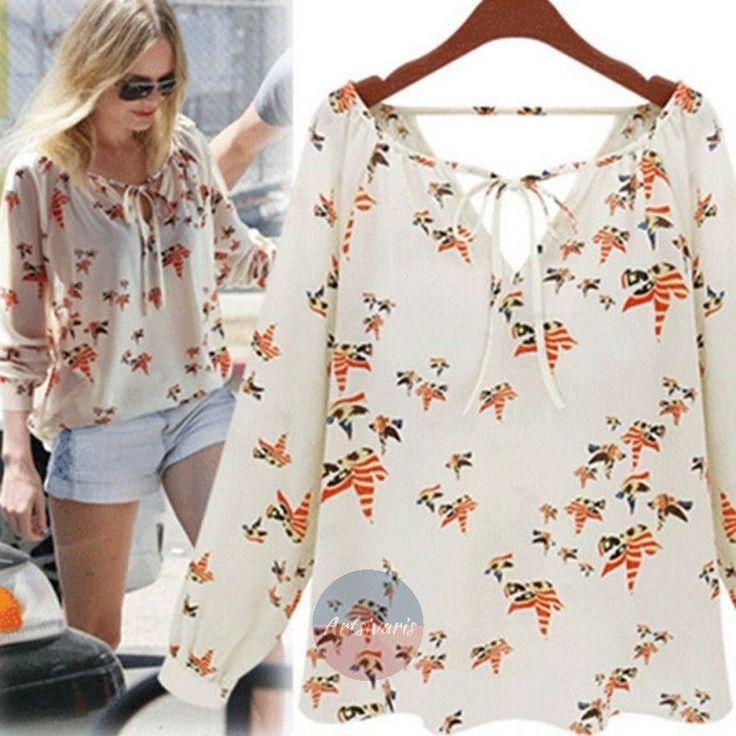 Fashion Women Chiffon Top Dove Bird Print Blouse Casual Loose Tee Shirt Tops | eBay