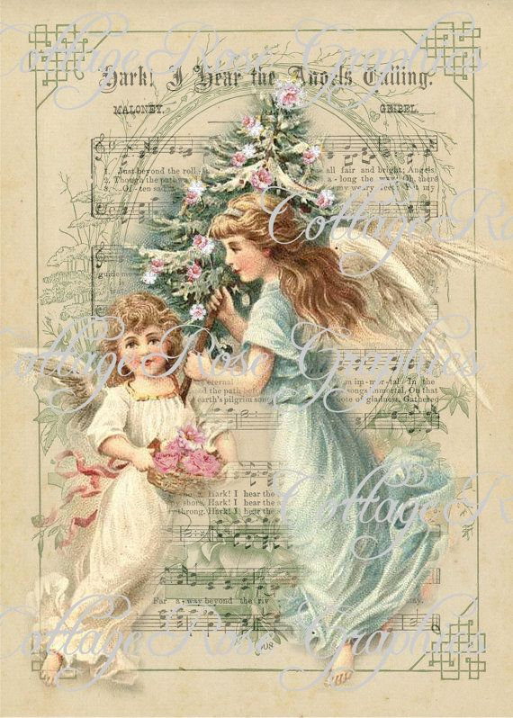 Pink Roses CHRISTMAS Angels vintage shabby by CottageRoseGraphics, $3.75