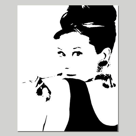 Audrey Hepburn - grabado de la imagen de silueta de 8 x 10 - Elija sus colores - Teen, chica - se muestra en negro, blanco, rosado, amarillo, gris y más
