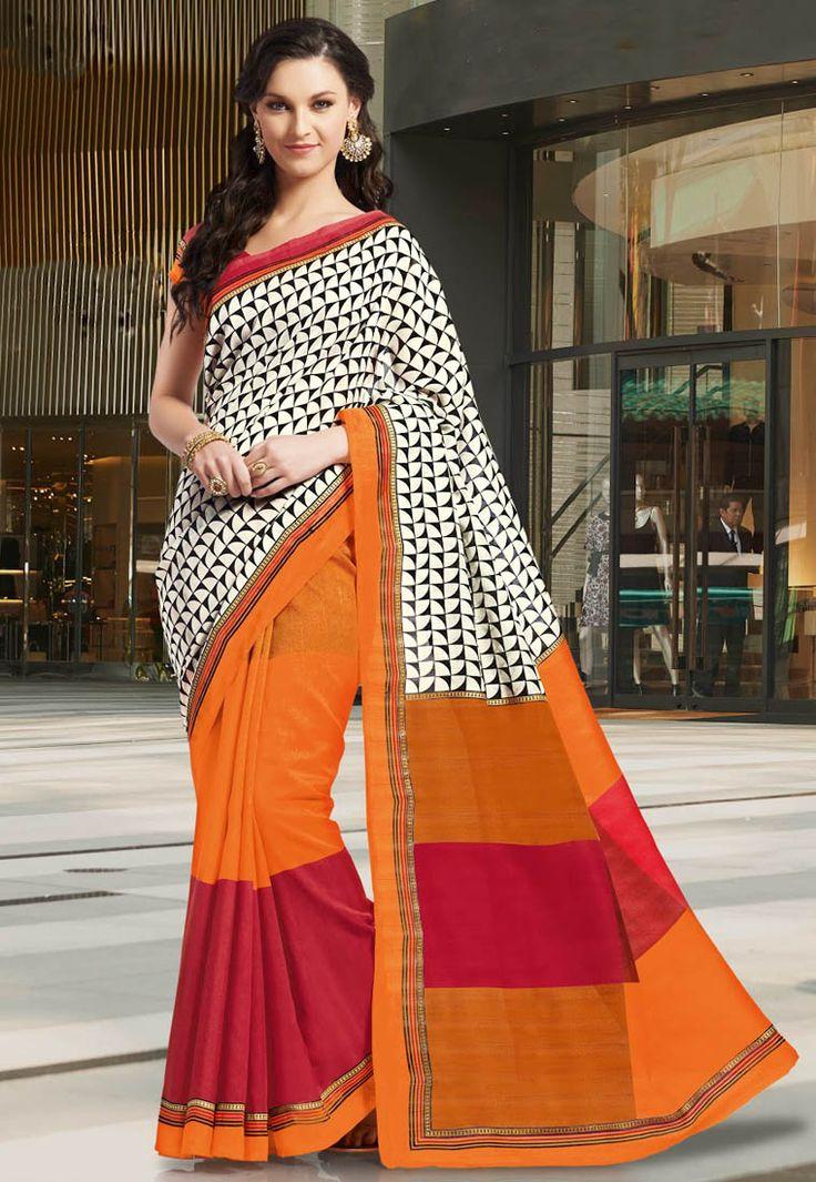 A vibrant looking Off white& Orange Color Mysore SilK Designer half saree showcasing a modish print and simple zari embellished border #MysoreSilk #Sarees
