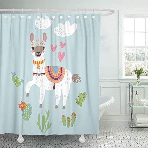 Varyhome Shower Curtain Clipart Llama Alpaca Lama Cute Waterproof