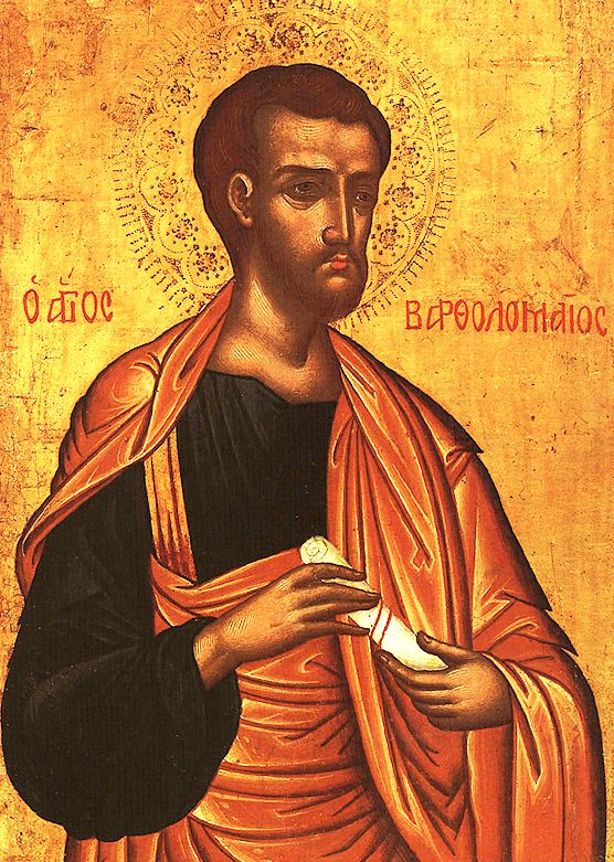Holy Apostles Bartholomew (pic) and Phillip and Phillip's sister Holy Virgin Mariamnne preached the Gospel in Syria and Asia Minor. Their prayers destroyed an enormous viper that was worshipped as a god and healed a man who had been blind 40 years. When pagans tried to undress them, Mariamnne became like a torch and no one could touch her. As they were crucified, a huge earthquake swallowed the city governor and many pagans. Bartholomew then preached in India and Armenia. (Jun 11)