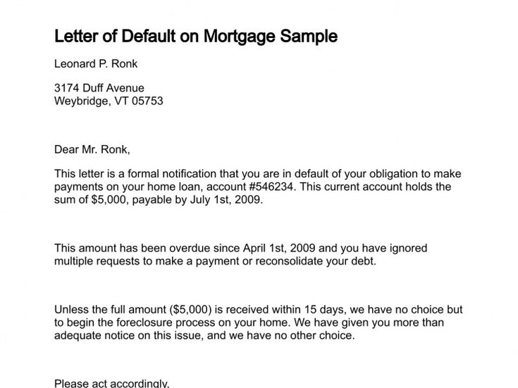 letter of default on mortgage sample