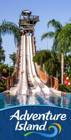 Adventure Island Tampa Tickets Excitement awaits families the moment they step foot in Adventure Island Tampa. Located just across the street from Busch Gardens is a 30-acre waterpark where the toughest thing you'll do is choose what watery fun you want to do first. Choose from corkscrew slides, waterfalls, a giant wave pool, relaxing on a rambling river and many more family attractions in an atmosphere feels like it's straight out of the Florida Keys