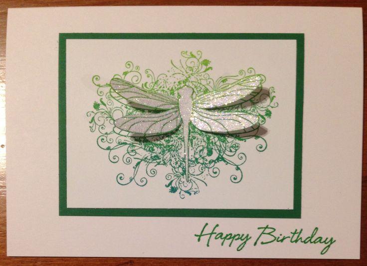 Deep Red Clingstamps - Dragon Flourish SKU 4X5501108 Hero Arts - Happy Birthday C5594 kaleidacolor ink pad - Fresh Greens A5 Envelope Solutions