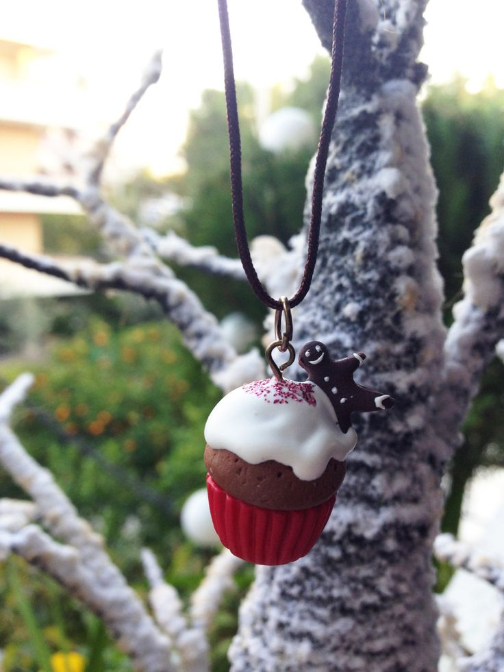 Christmas Cupcake with a Gingerbread Man on the top Necklace _ 1/12 Dollhouse Scale Miniature Food _ Polymer Clay _ Foodie Gift by MarisAlley on Etsy
