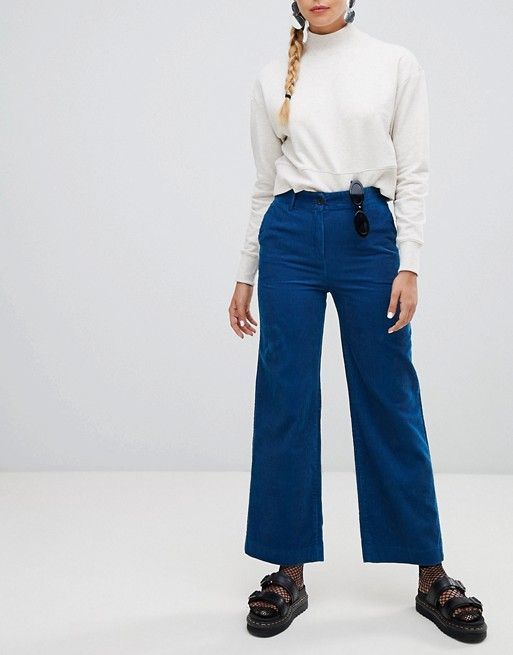 9b4e2a51f1d Monki wide leg cord pants in blue in 2019 | apheria | Cord trousers ...
