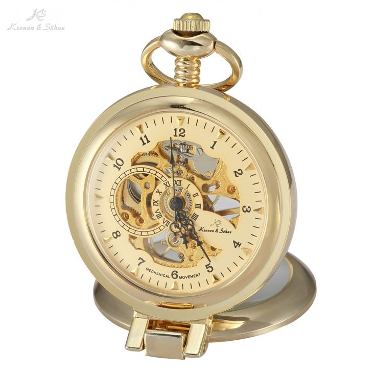 27.99$  Buy here - http://alih68.shopchina.info/go.php?t=32244861743 - KS Luxury Retro Skeleton Gold Analog Hand Wind Clock Long Chain Fob Pendant Steampunk Men Mechanical Pocket Watch Jewelry/KSP062 27.99$ #buychinaproducts