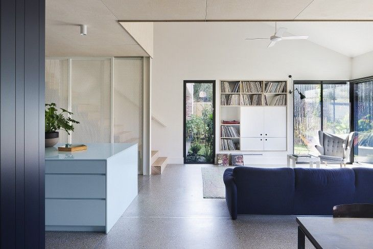 Vinyl storage. Gable House | Clare Cousins Architects