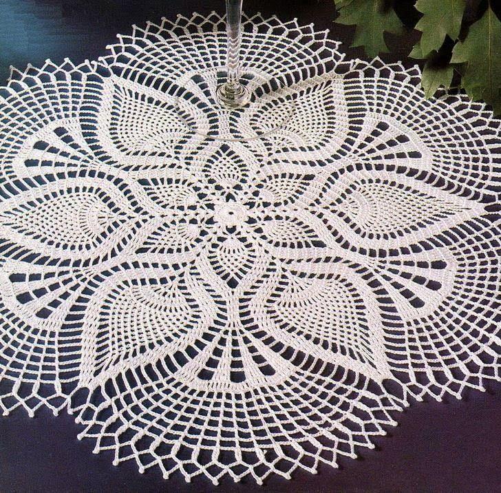 Crochet Pattern of Beautiful Lace Doily Using White Cotton Thread
