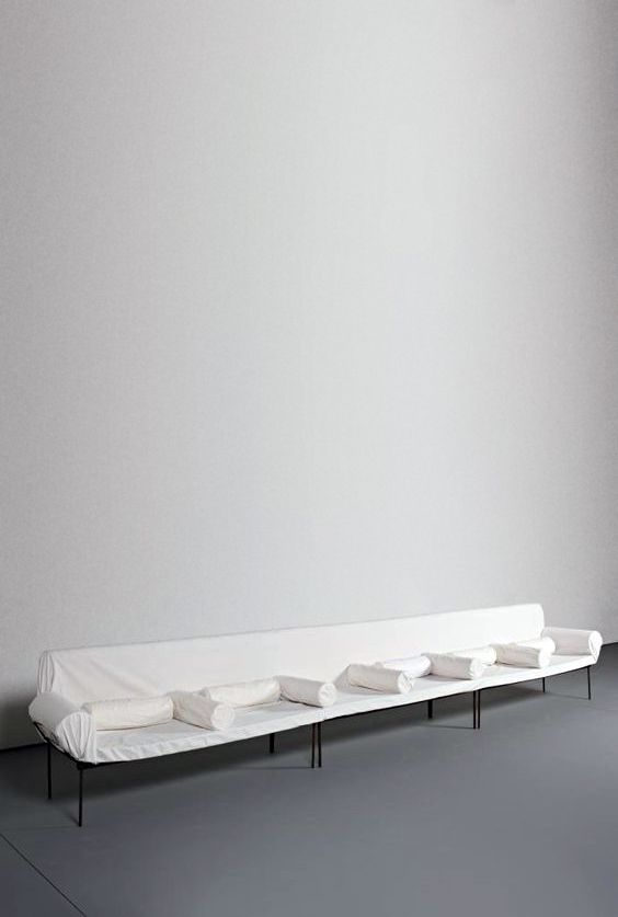 Sold by Phillips Auction. FRANZ WEST. Untitled. (Bench). 1993. Steel bench covered with foam upholstery, foam pillows and white linen sheet.