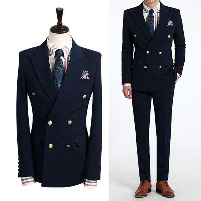 Pria Plus Ukuran Ganda Breasted Jaket pria Bisnis Pakaian Kasual Ramping gaun pengantin Formal