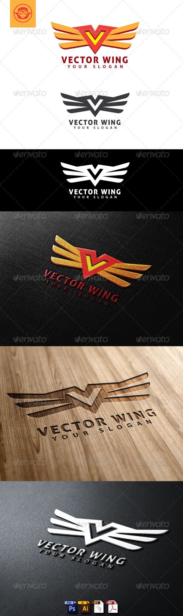 Vector Wing Logo Template (Letters)