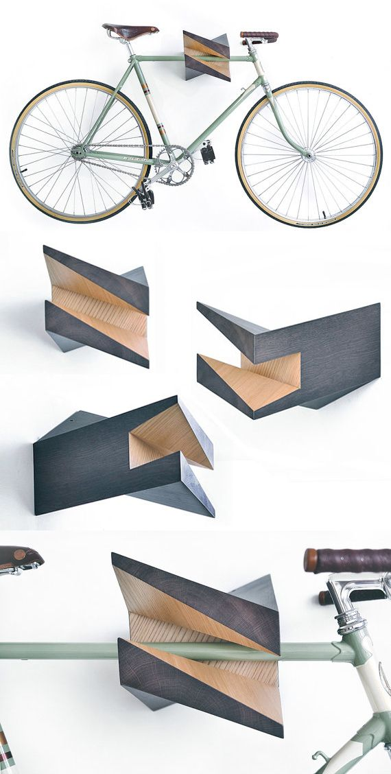 """Iceberg"": Percha para bicicleta en madera de roble - Oak Wood Bike Hanger…"