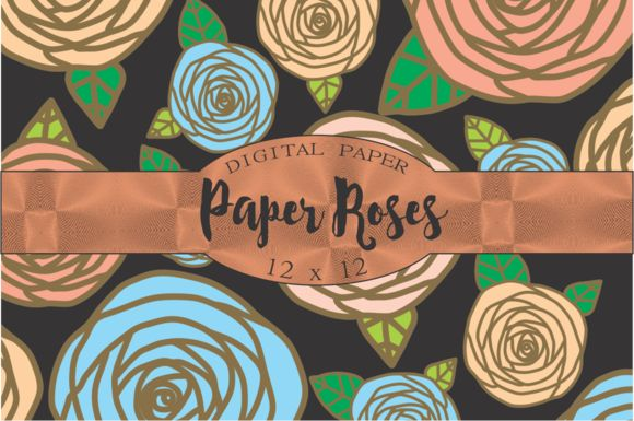 Paper Roses Patterns by Kiwi Fruit Punch on @creativemarket
