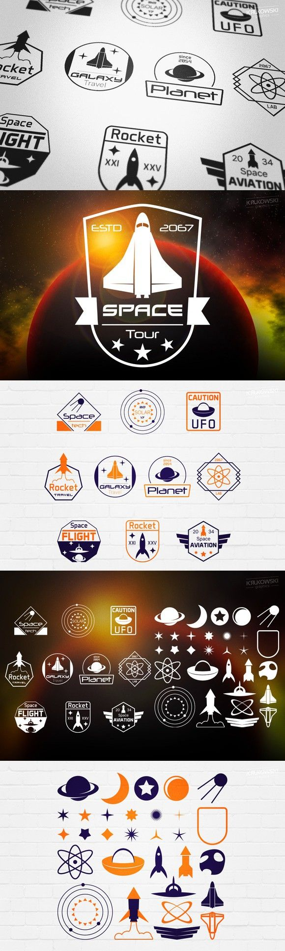 Space Sci-Fi Emblems Badges Logos. Logo Templates. $7.00