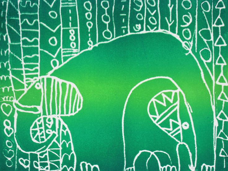Decorative elephant designs scratch foam relief print, multicoloured. Kids in Kindy - year 2, by Ruby