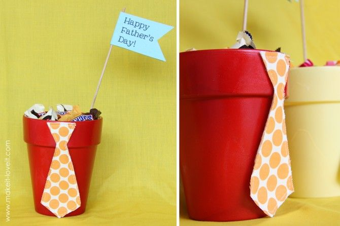 Father's Day: Candy Filled Tie Pots: Diy Ideas, Gifts Ideas, Father Day Crafts, Cute Ideas, Father Day Gifts, Fathers Day, Father'S Day, Flower Pots, Fatherday