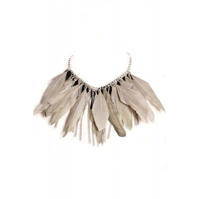 Lily and Rose - Cora Feather Necklace Grey - Kotyr.com