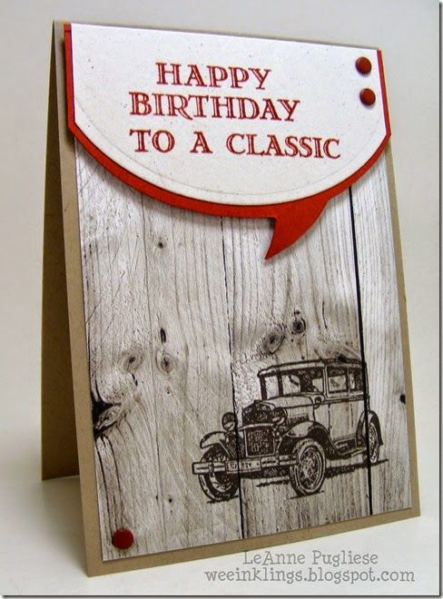 355 best masculine cards images on pinterest masculine cards man leanne pugliese weeinklings guy greetings classic car birthday stampin up bookmarktalkfo Gallery