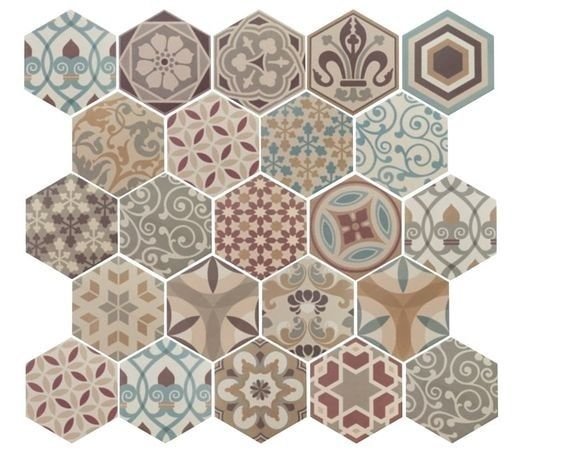 Kleurige mix van vrolijke decors: prachtig patchwork tegels! Met deze leuke mix van gekleurde zeshoekige tegels ontstaat een heel leuk effect.