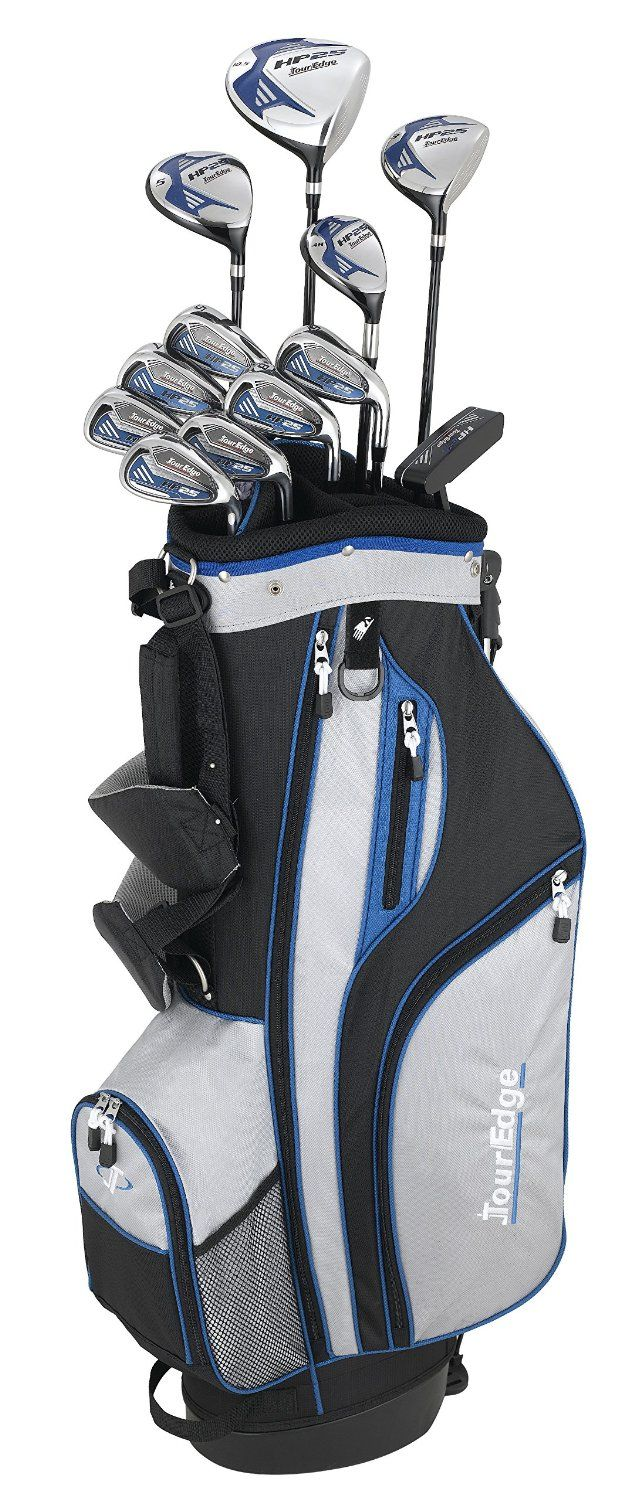 Available in both right and left hand these mens HP25 complete golf club sets by Tour Edge provide high quality, stainless steel cavity back HP25 irons, classic blade putter and Tour Edge stand bag