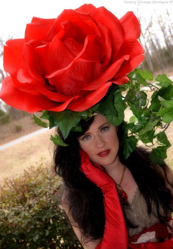 Headdress,Giant flower hat, RED ROSE, Floral, headpiece, headdress, Derby hat, Huge Rose, costume ROSE headdress flower