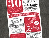 30/40/50 ROCKS - Birthday Party Invitation - Adult Female or Male - Printable or Printed for you