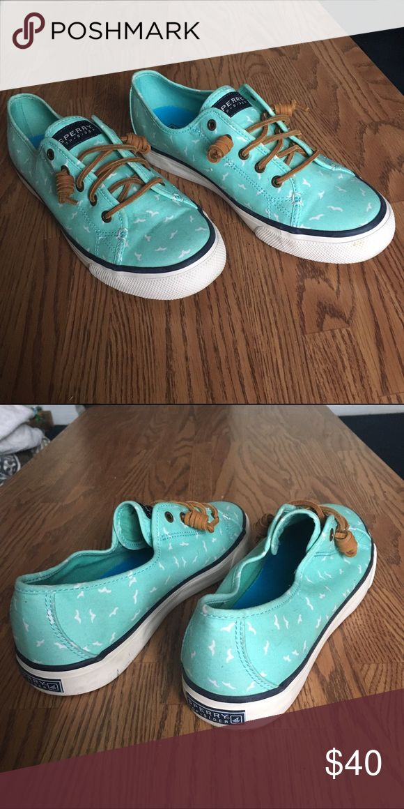 Sperry Sneakers Sperry sneakers, size 9 1/2, worn once. Teal with white bird design. Sperry Top-Sider Shoes Sneakers