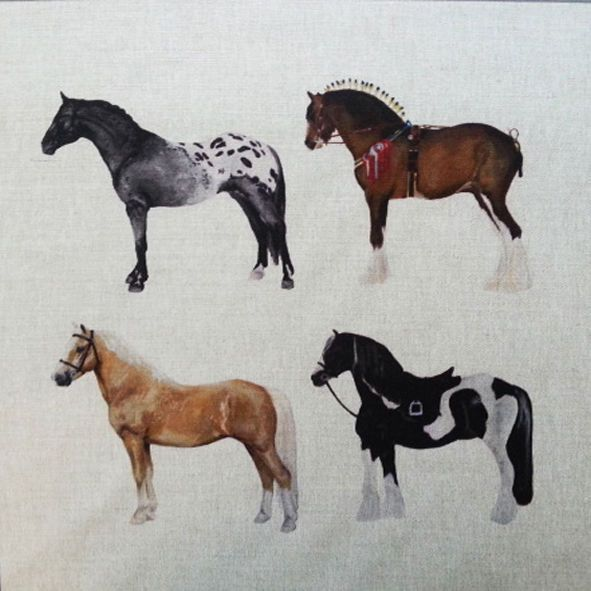 "Multi Horses Horse Cushion Panel 18"" £5"
