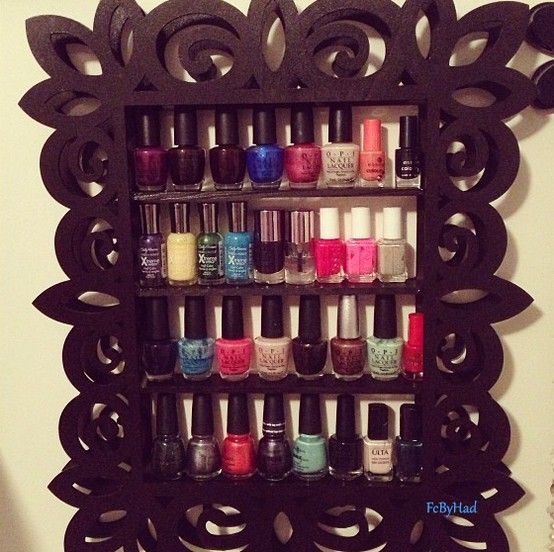 DIY nail polish rack! :) So easy to make! Wish I had room in the bathroom for it, though...any ideas for where else to put it??