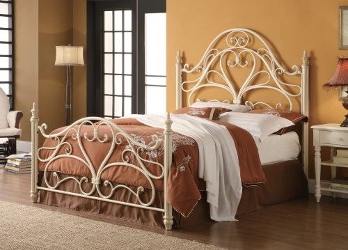 Queen Ornate Metal Bed With Egg Shell Finish White Bed Frame