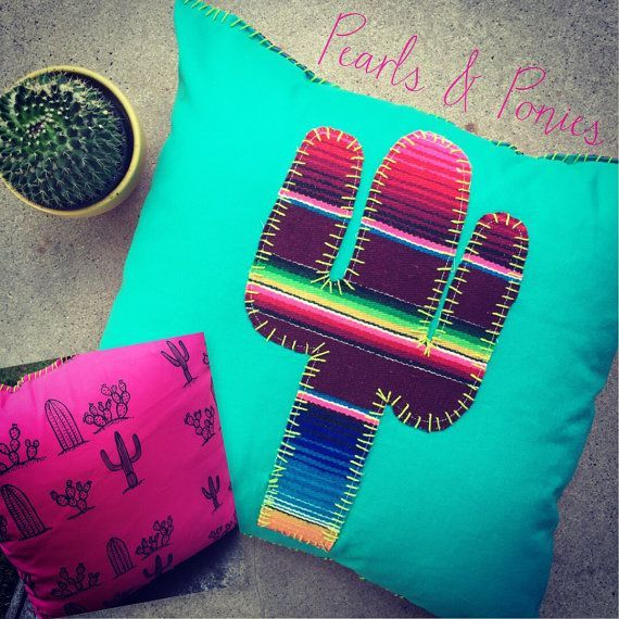 Turquoise Serape cactus pillow. 16x16 handmade. Saguaro applique on cotton material. Hand designed pink cactus print again. One in every of a sort. >>> Check out more at the photo