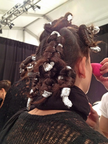 Curls using aluminum foil. Lela Rose Hair and Makeup   Fashion Week Fall 2013