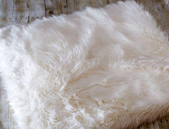 3'X5' White Faux Fur Rug Faux Fur Floor by basketfillersbyjamie