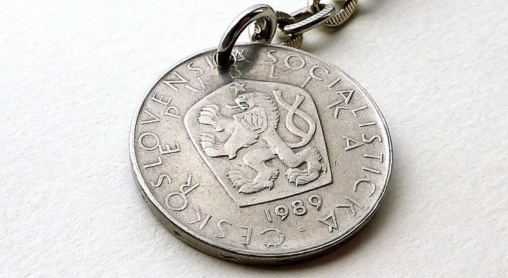 Czechoslovakian, Coin keychain, Coins, Men's accessory, Upcycled keychain, Men's gifts, Gifts for him, Keychain, Repurposed coin, 1989 by CoinStories on Etsy