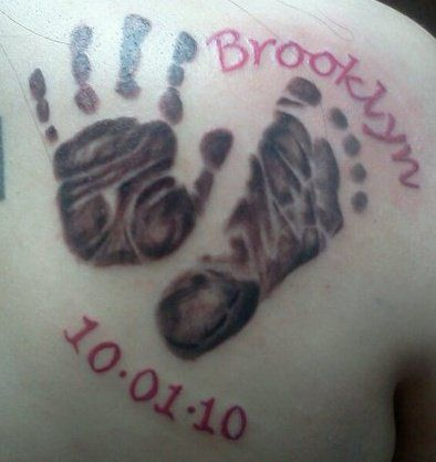 Baby's handprint/footprint tattoos. I'm going to do this!