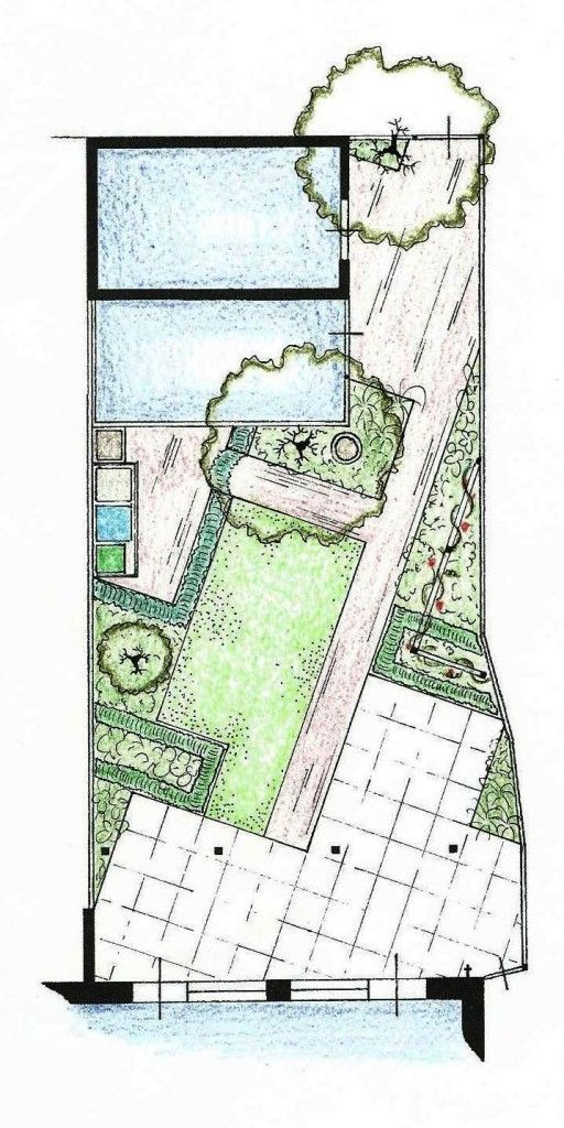 angled garden design plan ... creating anlges help you keep straight lines but create more of a sense of mystery and creates nice deep beds on a skinny plot