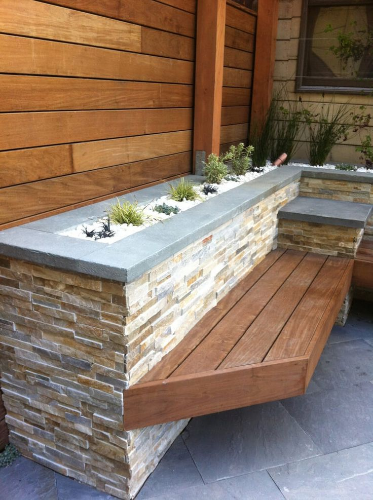Stacked Stone Planter with Bench