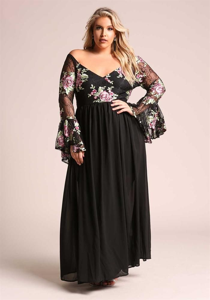 Plus Size Clothing | Plus Size Floral Embroidered Bell Sleeve Maxi Gown | Debshops