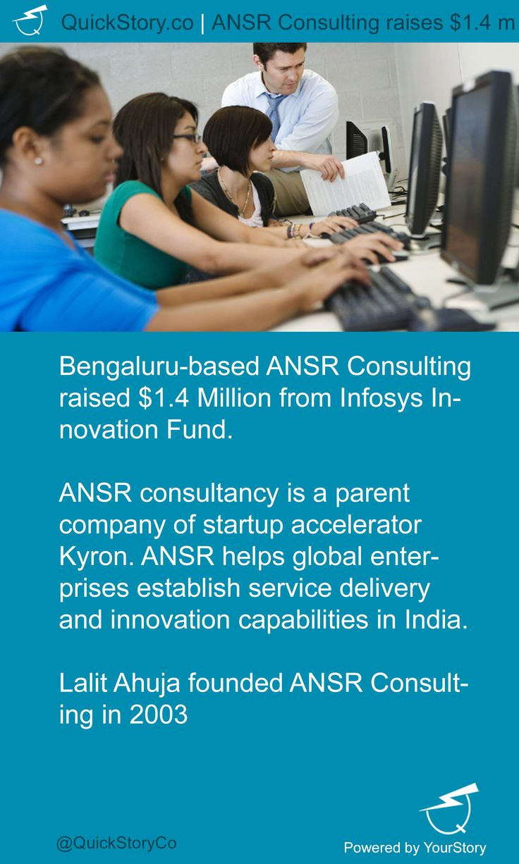 In July 2015, ANSR Consulting raised $1.4 Million from Infosys Innovation Fund.