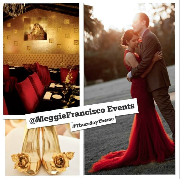 @Megan Maxwell Farrell Francisco #ThursdayTheme: Red and gold plus wedding, featuring Sambuca Uptown, Freya Rose London and Casey Jeanne Couture