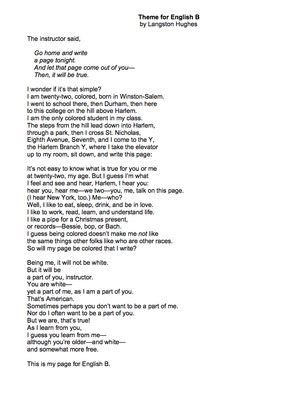 Theme for English B by Langston Hughes - Lessons, Analysis, & Writing from Mrs Scott's Clasroom on TeachersNotebook.com