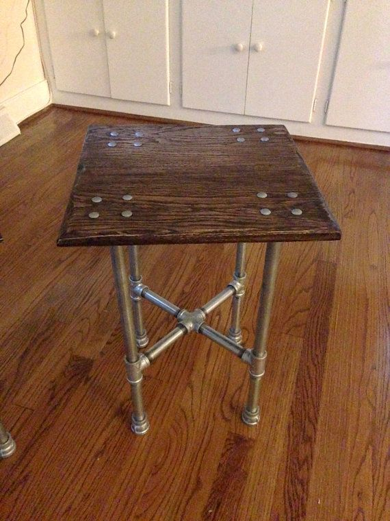 Good Oak Industrial Iron Pipe End Table By IronCrafts On Etsy, $195.00