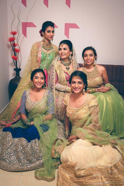 bridesmaid lehenga , blue lehenga , off white and gold lehenga , light green lehenga , pastel lehenga , lghtweight lehenga for brides sister , friend of the bride lehenga , bridesmaid portrait